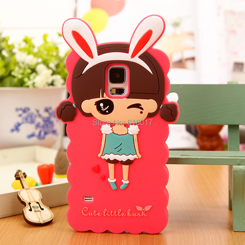 Samsung Galaxy Note4 Note 4 Silicone Cases Cute Cartoon Rabbit Little Girl Pattern Cell Phone Case Cover Skin - Good Beautiful Friends store