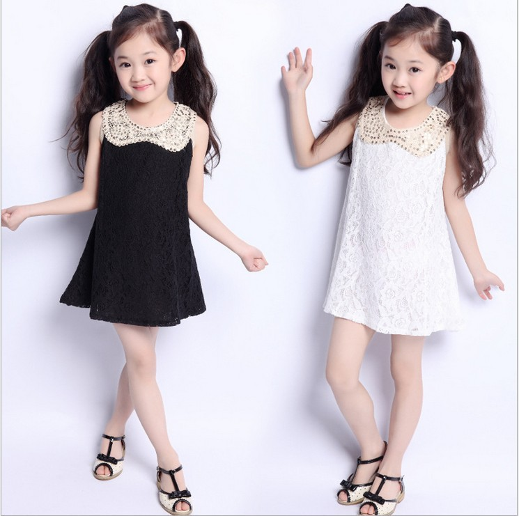 2015 Latest Kids Clothes Summer Lace Sequin Doll Dresses For Girls Handmade White Childrens Going Out Dress Tops Free Shipping(China (Mainland))