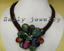 """Free Shipping Beautiful 17"""" Multicolor Agate Flower Necklace Jewelry(China (Mainland))"""
