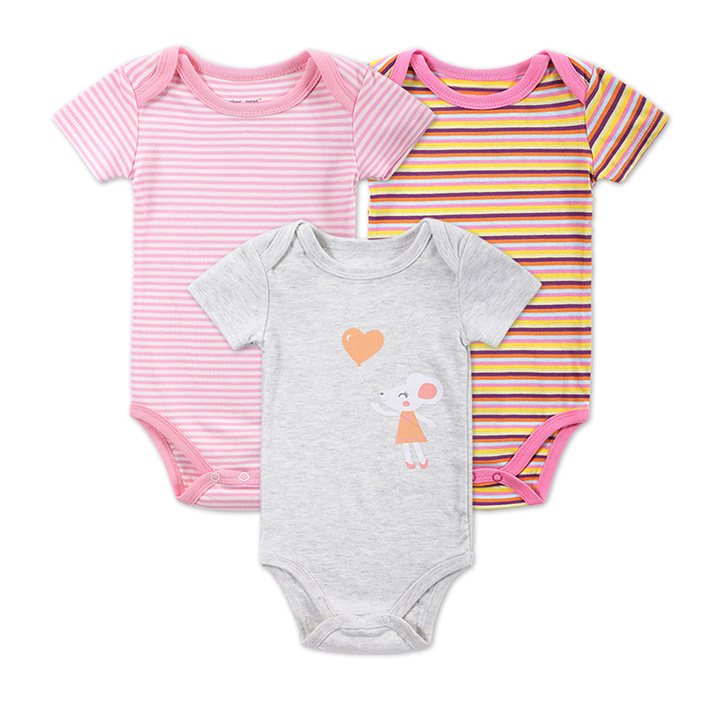 3 PCS/LOT Newborn Baby Romper Girls and Boys Short Sleeve Cotton Outwear Infant Striped Printed Clothing Baby Product 0-12M(China (Mainland))