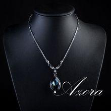 AZORA Platinum Plated Big Irregular Shape Ink Blue Stellux Austrian Crystal Pendant Jewelry Necklace TN0064