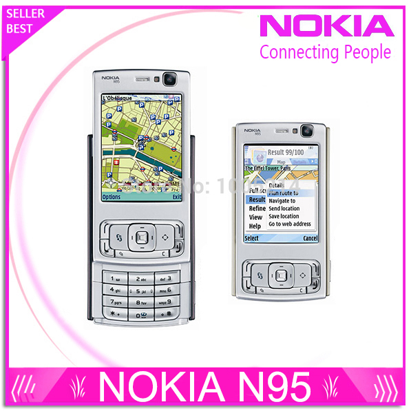Refurbished N95 Original Nokia N95 WIFI GPS 5MP 2.6''Screen WIFI 3G Unlocked Mobile Phone 1 Year Warranty(China (Mainland))