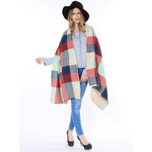 2015 Fall Fashion Famous Brand Fringe Double Layer Thick Warm Big Tartan Soft Oversize Cape Women Winter Plaid Poncho Blanket