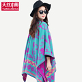 155 135CM Flower Print Winter Wool Scarf Poncho Women Shawl Brand Luxury Cardigan Feminino Thicken Sjaal