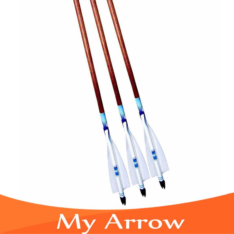80cm Professional Practice Long Bow Wooden Arrows Wood Arrow Archery 3pcs Turkey Feather Handmade Wooden Arrow