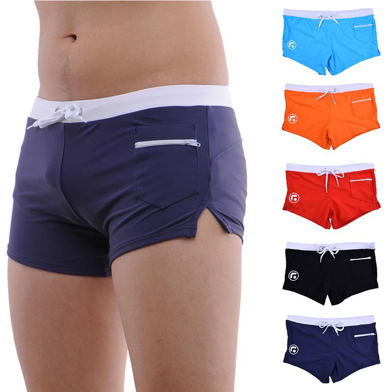 Men's Swimwear Swim Trunks Men Boxer Swimming Shorts With Pockets Beach Mens Swim Underwear(China (Mainland))