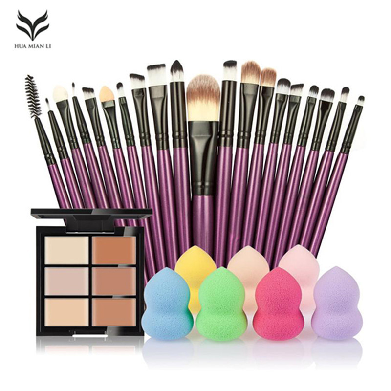 New Arrival Make professional 6-Color Concealer +20 Makeup Brush + Water Puff Puff Powder Puff Hot combination set