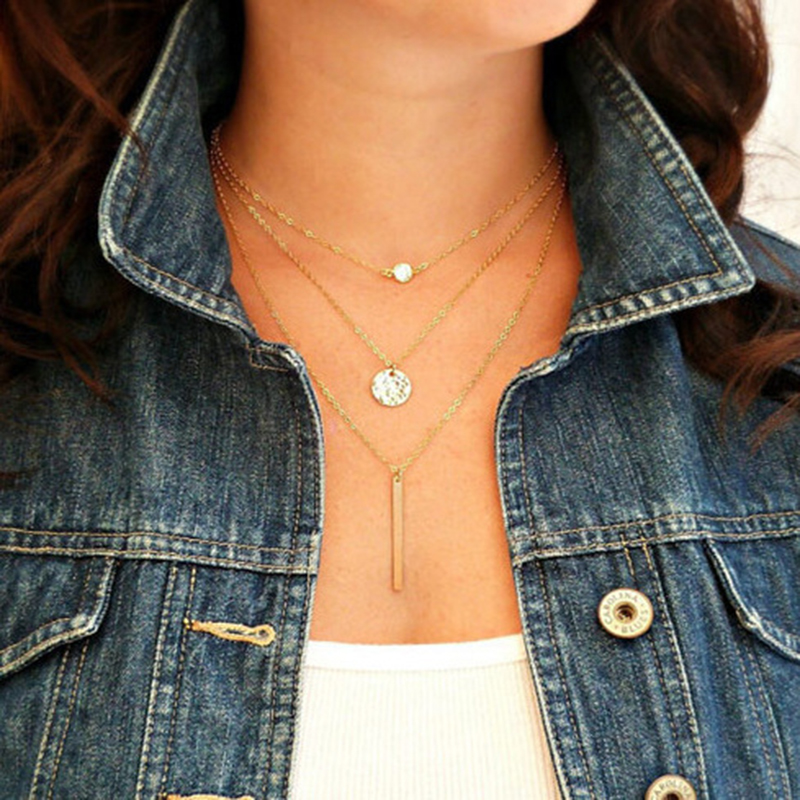 2016 Sale Collares Collier Plating Choker Necklace Sequins Charm Women Collar Necklaces Multilayer Chain Pendant Jewelry Yw058(China (Mainland))