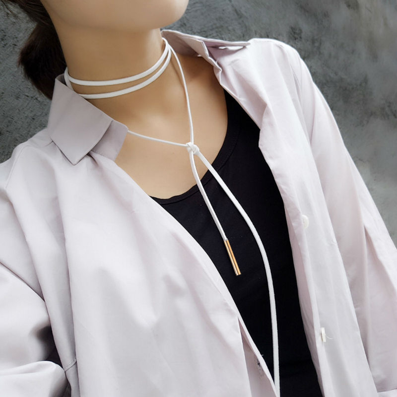 Joyme New Fashion Leather Rope Chain Choker Necklace For Women Chokers Bib Collar Steampunk Necklaces Chocker Collier Femme(China (Mainland))