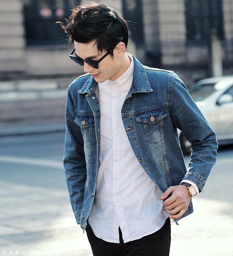 Men's Jean jacket, jeans wear white washed large size clothing, jacket men, lapel new single-breasted(China (Mainland))