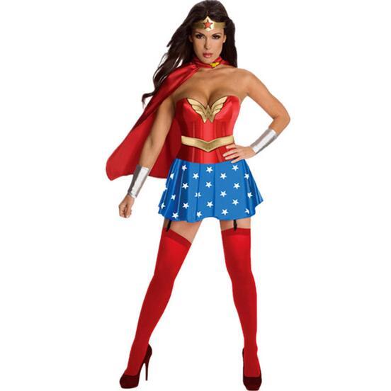 Halloween Wonder Woman Superwoman Costume Women Sexy Cosplay Fashion Fancy Party Dresses Halloween Costumes For Women Fantasias(China (Mainland))