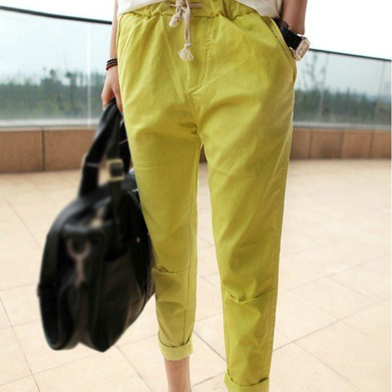 2015 Plus Size Ladies Casual Pencil Four Color Capris Pants Cozy Cotton Women Trouses Elastic Waist