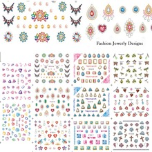 STZ 11 Designs Gorgeous Jewelry Diamond Necklace Pattern Nail Art Sticker Sets 3d DIY Women Designs Nail Decals Tips E512-522(China (Mainland))
