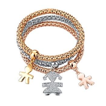 Урожай подвеска браслет мода женщин браслеты браслеты 3 шт. разнослоистое шарм золотой ...