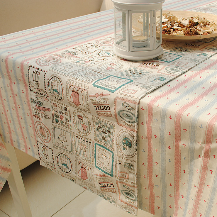 Cute Style Printed Coffee Time Cotton+Linen Table Runner Double Sides Accept Customized 30*150cm 30*180cm 30*210cm(China (Mainland))
