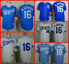 Cheap Wholesale Kansas City Royals Jersey #16 Bo Jackson Blue/White Throwback Baseball Jersey,Embroidery logo,S~XXXL(China (Mainland))