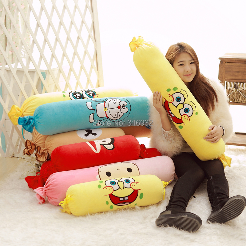 J2 Novelty Soft Plush Stuffed Sponge bob Rilakkuma Doll Minion Anime Toy long candy pillow Kid Cute Cushion(China (Mainland))