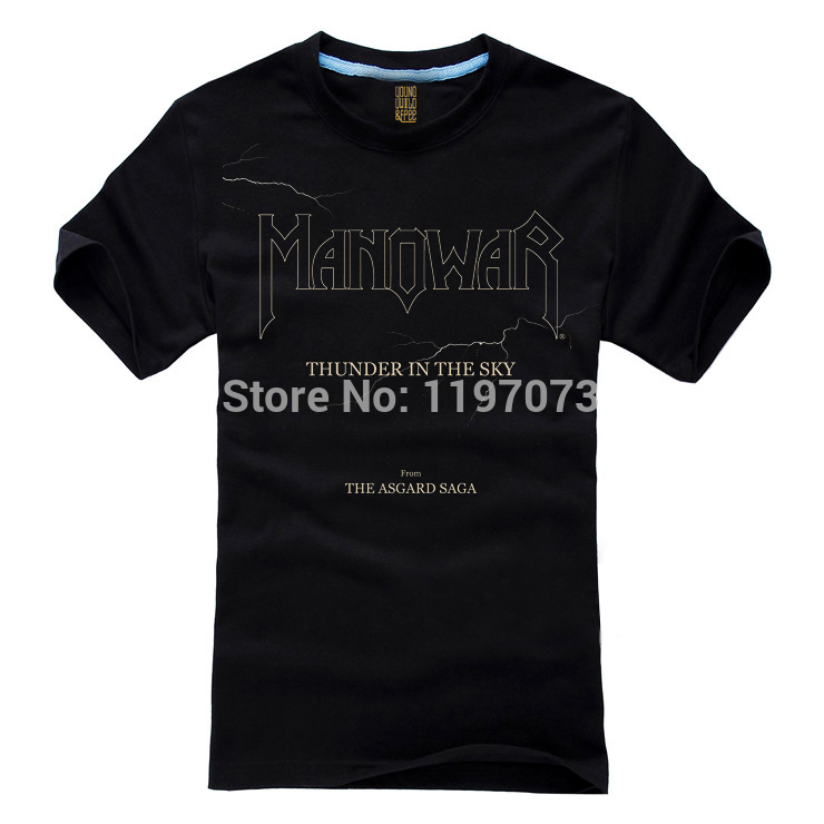 Free shipping Thunder In The Sky - Manowar cover Heavy metal/Power metal men's black T-Shirt in summer(China (Mainland))