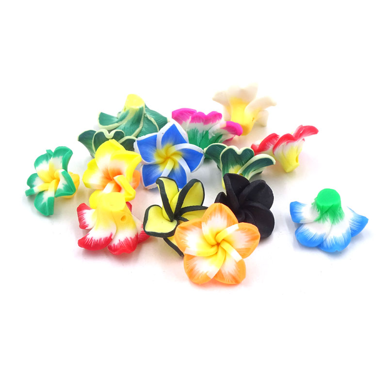 50Pcs Mixed Polymer Fimo Clay Flower Beads With Back Holes 20*10mm Material For Handmade Accessories Diy Craft 5 Leaf Flores(China (Mainland))