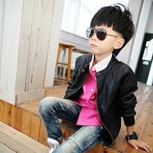 2015 New Boys Coats Faux Leather Jackets 2 Colors Children Fashion Outerwear Spring Autumn Winter MC031