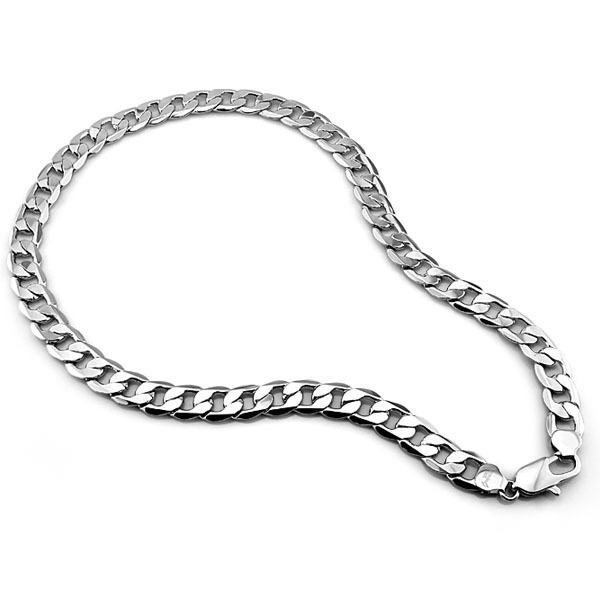Men sterling silver necklace jewelry,genuine solid 100% pure silver men's thick necklace,925 sterling silver chain 12mm 26 inch