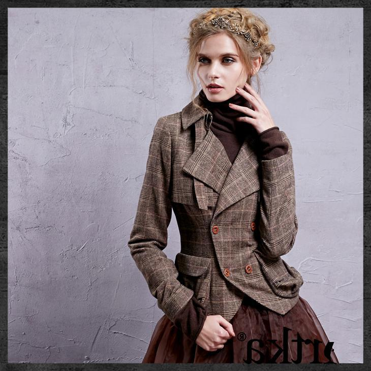 2015 Autumn new arrival ladys vintage jacket,womens gentle plaid jacket Одежда и ак�е��уары<br><br><br>Aliexpress