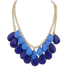 Wholesale 2014 New Fashion Jewelry 4 Colos High Quality Drop Pendant Chokers Necklaces Women Statement Collar Necklace HT-63(China (Mainland))