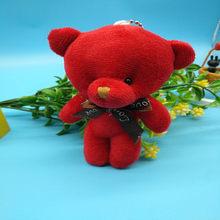 Moda 12 CENTÍMETROS Urso de Pelúcia Boneca de Brinquedo de Pelúcia Saco de Mulher do Anel Chave de Cadeia Encantos Do Falso Pele De Coelho Pom Pom Keychain chaveiro Bugiganga Casamento(China)