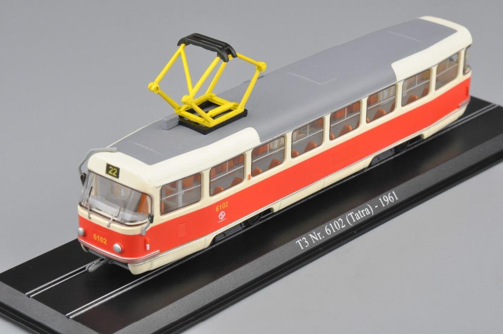 Miniature model train 1:87 Scale Atlas Tram Model T3 Nr.6102(Tatra)-1961 Modellini Auto Diecast Train Toys For Collection Gift