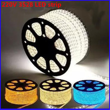 Kitop 5m 220V led 3528 SMD led Strip rope Light 60leds/m Waterproof IP67 LED strip high voltage flexible led strip with plug
