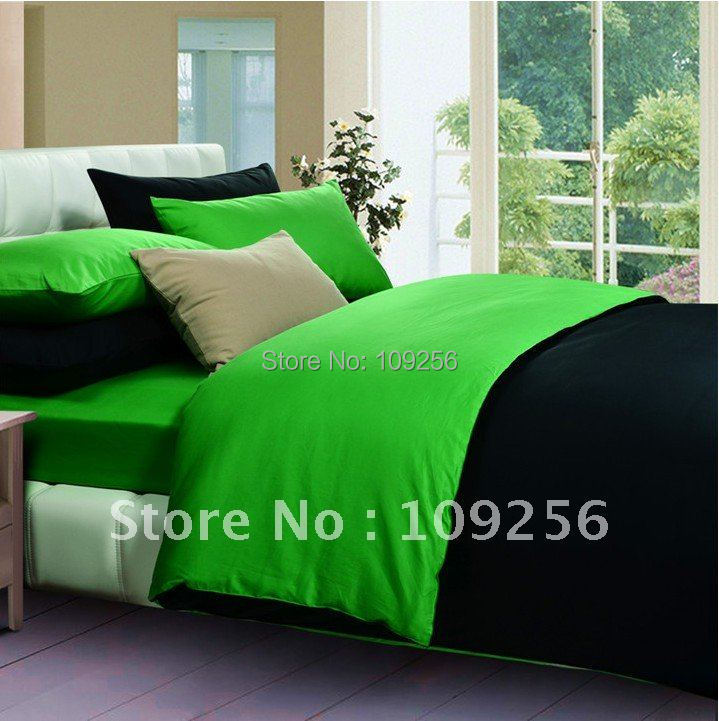 Free ship Sateen cotton green black color luxury