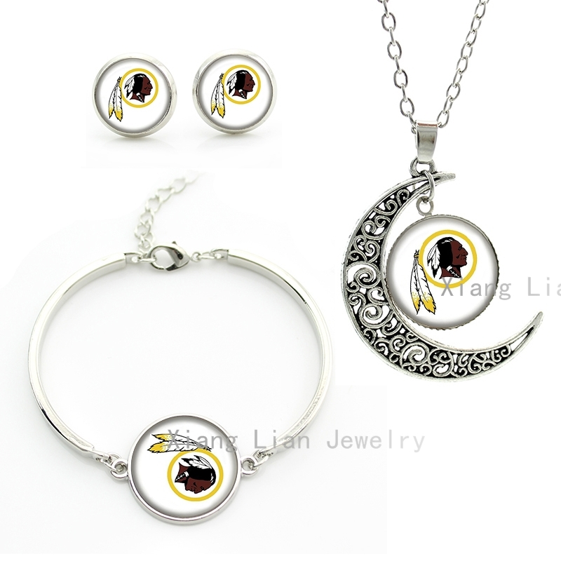 Vintage rugby american football team necklace earrings bracelet Washingtom Redskins team NFL Souvenirs jewelry set gifts NF153(China (Mainland))