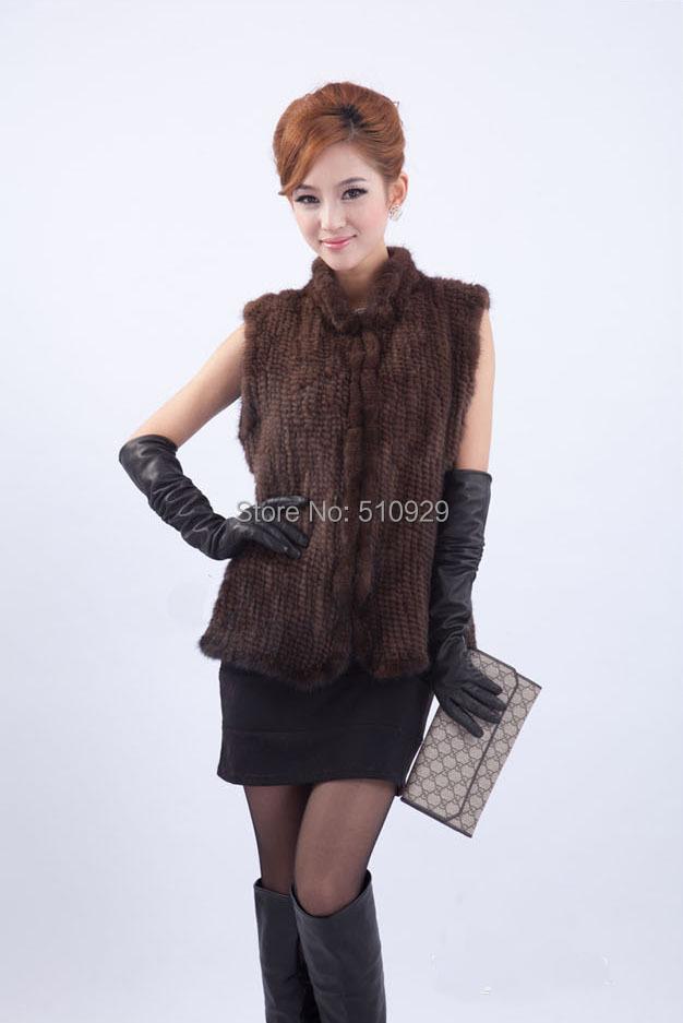 2015 New Genuine Mink Fur Vest Fashion Women Knitted Mink Fur Jacket Winter Mink Waistcoats(China (Mainland))