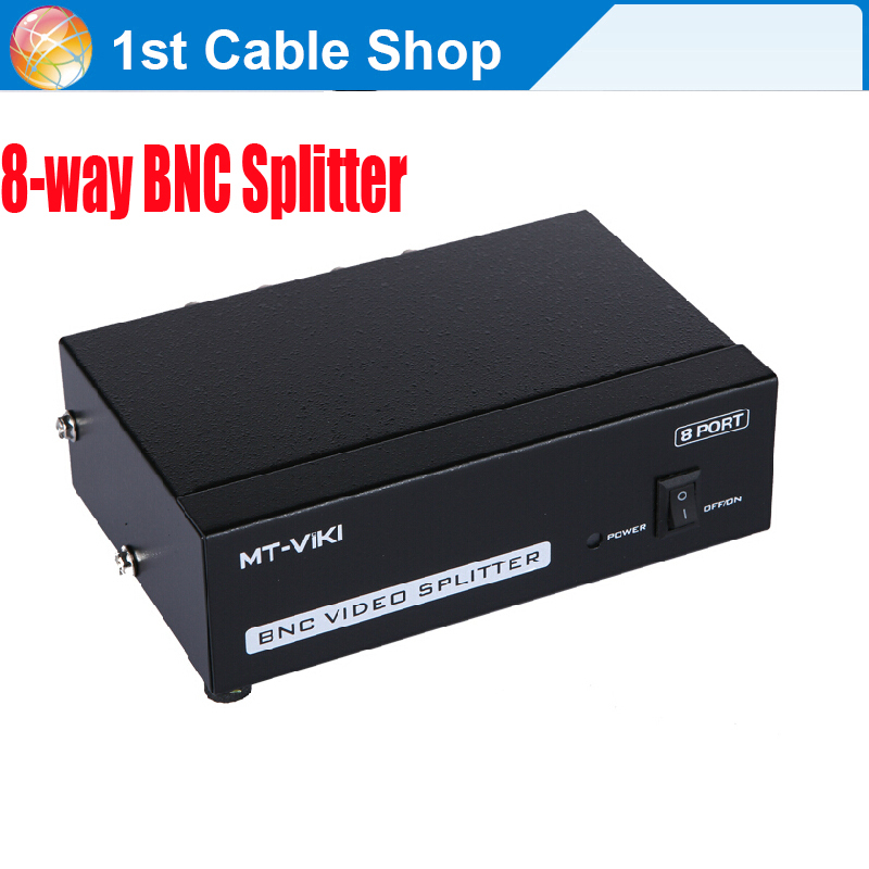 Free shipping 8-Way BNC Splitter 1X8 BNC video splitter CCTV DVR Composite Video 1 to 8 Ports Switch Splitter Box with power(China (Mainland))
