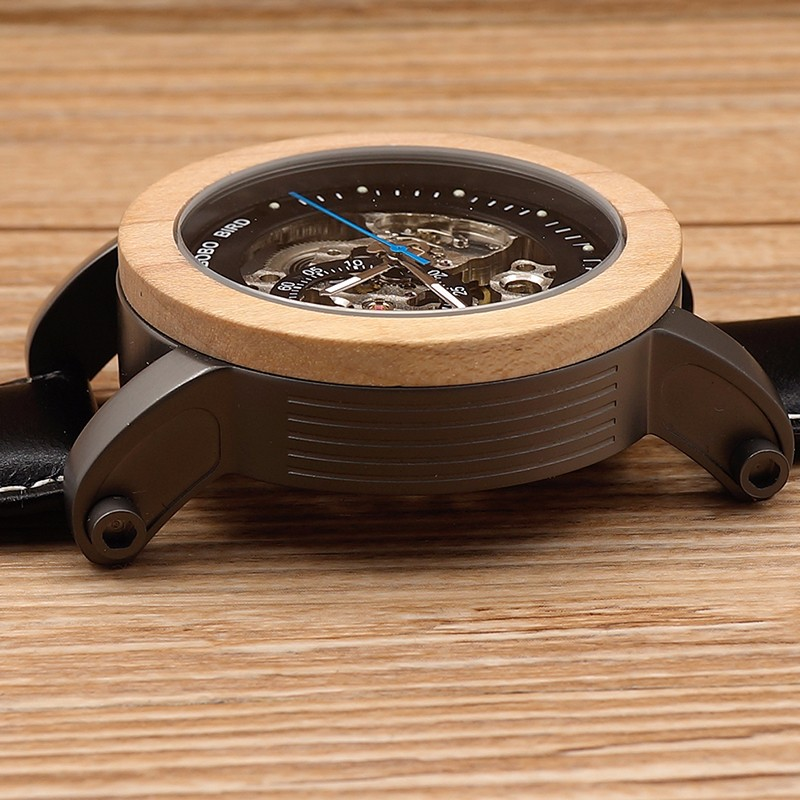 BOBO BIRD K14 Mens Watches Brand Luxury Vintage Bronze Skeleton Clock Male Leather Strap Antique Steampunk Casual Automatic Skel