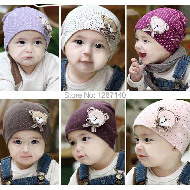 1pcs/lot free shipping baby hat baby cap knitted crochet Beanie Infant Hat Bear Pattern skull Cap Toddler Boys & Girls fhhV9u(China (Mainland))