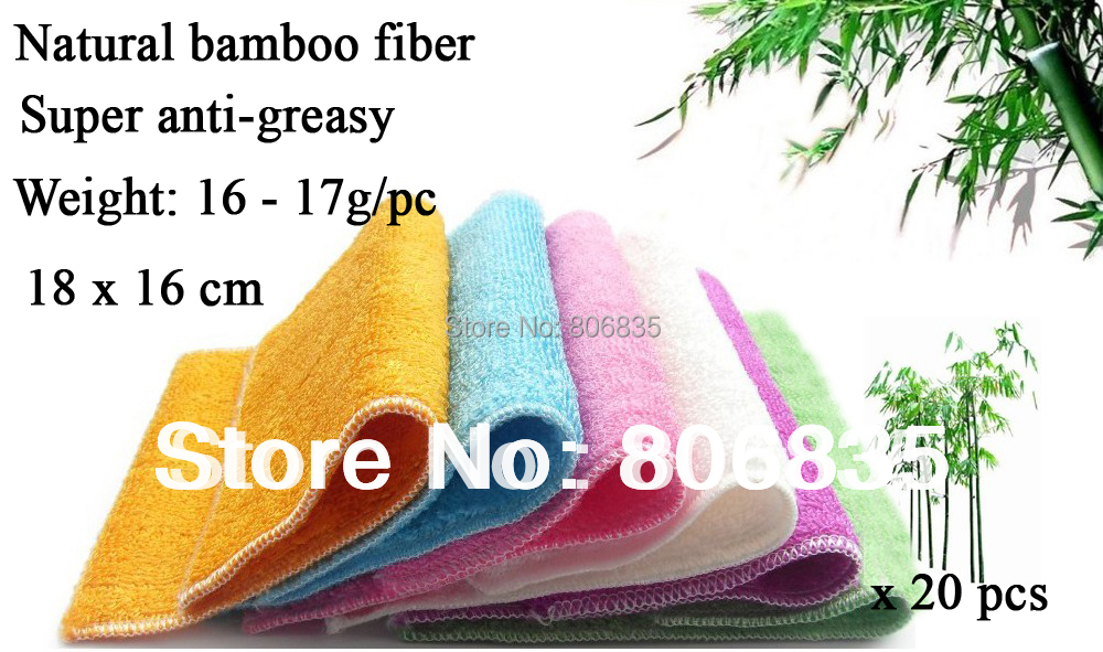 Free shipping bilayers ANTI-GREASY color dish cloth,bamboo fiber washing dish towel,magic wipping rags,kitchen cleaning cloth