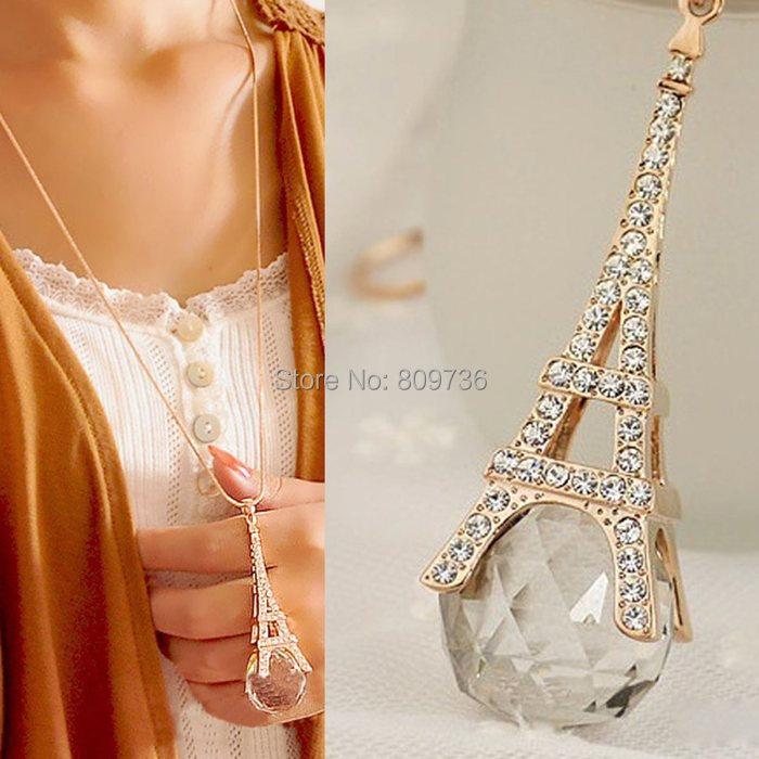 Brand Fashion Paris Eiffel Tower Crystal Rhinestone Ball Pendant Long Chain Sweater Necklace New Women Jewelry