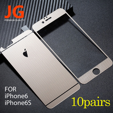 JG 10 pairs/lot Front + Back Tempered Glass Color Film 6S Full Cover Screen Protector Honeycomb Mesh Pattern for iphone6 6S
