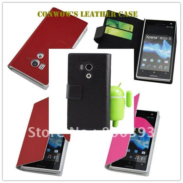Retail packing,Credit Card slots flip pouch Leather Case,Leather Wallet Case for Sony Ericsson Xperia acro S It26w,Free Shipping