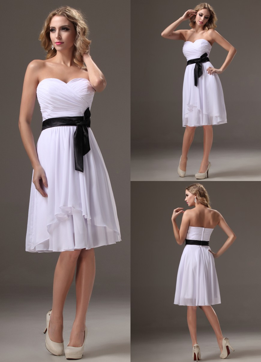 Black and white bridesmaid dresses under 100 promotion for Short white wedding dresses under 100