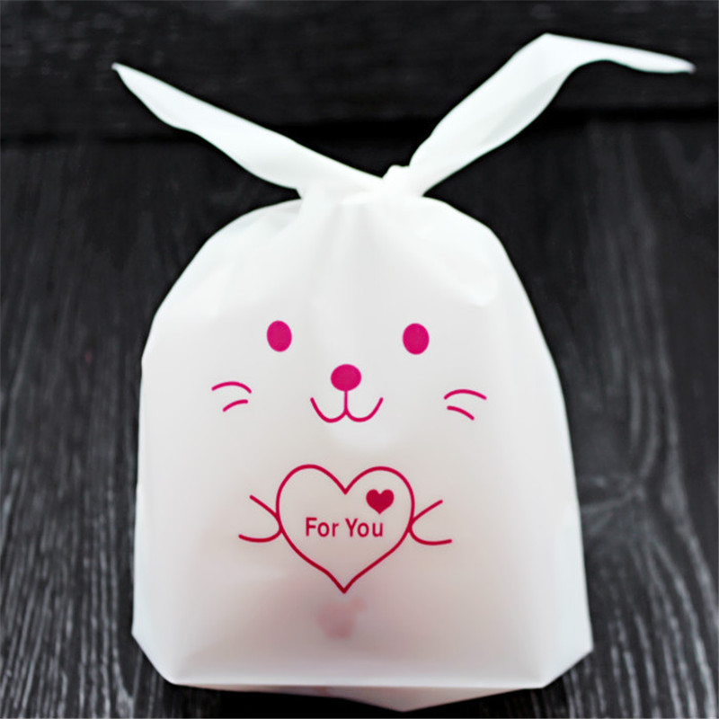 Cheap!10pcs Rabbit Ear Cookie Bag Plastic Packaging Biscuit Candy Gift Bags Cute Cartoon Wedding Party Decoration Candy Bag.w(China (Mainland))