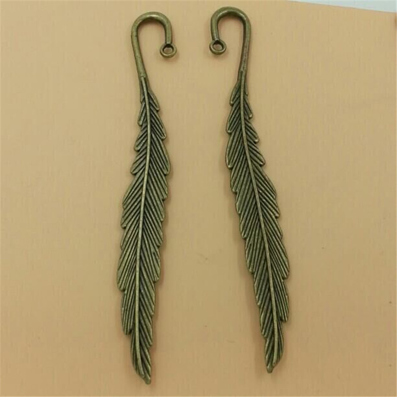 Wholesale Metal and Vintage Pendants With Loop Tibetan Silver Bronze Feather Charms Bookmarks For Jewelry Making 10pcs T188(China (Mainland))