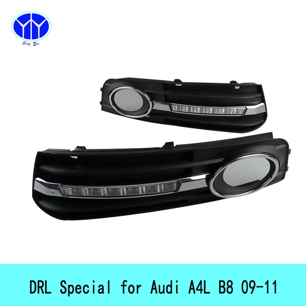 Фотография 12V LED Daytime Running Lights for Audi A4 L B8 2009-2012 super bright waterproof External bar light cree fog lamp auto car drl