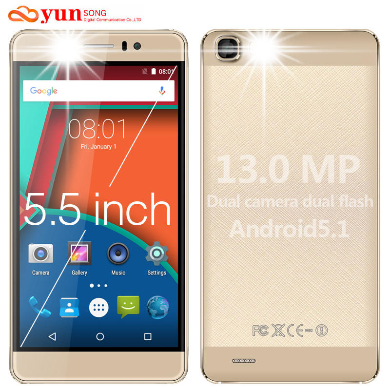 2016 Hot Mobile Phone YUNSONG YS7pro 13MP camera 5.5 inch screen Smartphone MTK6580 Quad Core Dual Sim Cell Phone GSM/WCDMA 3G(China (Mainland))
