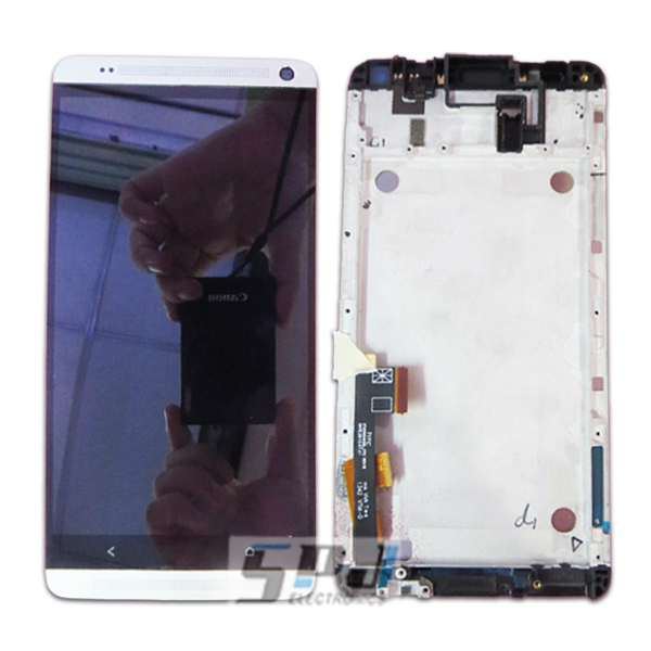 for HTC One Max LCD display screen with touch screen digitizer with frame assembly full set,Original new,free shipping,white