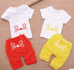 Lovely cat baby clothes/2-piece set: kitty t-shirt +kitty pants/Summer baby suit(China (Mainland))