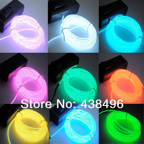 3 M 9 Feet EL Wire Neon led Light Rope For Party Car Decoration + BATTERY PACK 4szie 10 color hot Free shipping(China (Mainland))