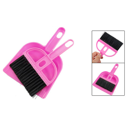 Wholesale 5* Amico Office Home Car Cleaning Mini Whisk Broom Dustpan Set Pink Black(China (Mainland))