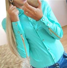 2015 Spring Autumn Women Fashion Rivet Buttons Zipper Sleeve Blouse Shirt Long Sleeve Professional Shirts Tops Work wear F2438(China (Mainland))
